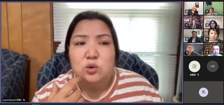 維吾爾人慕萊特達吾特在7月30日晚間臺灣立法院首次舉行維吾爾議題國際線上公聽會,說出在新疆集中營的遭遇。(臺灣立法院人權促進會直播截圖)