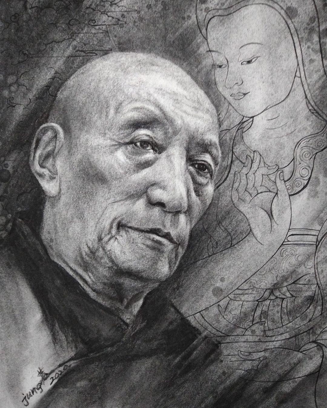 董靜蓉筆下強巴加措老格西,寂天菩薩(藏文:ཞི་བ་ལྷ།)代表其精神。寂天菩薩是古印度那瀾陀寺著名佛教學者、具開創性思想家。(董靜蓉提供)