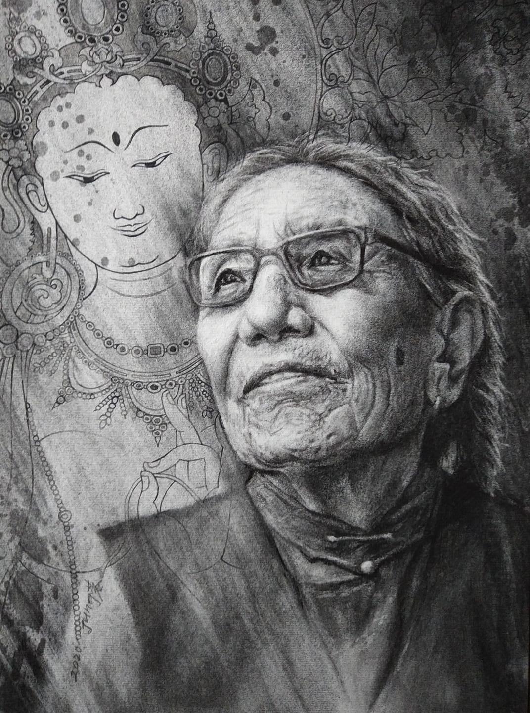 """董靜蓉筆下被中國關押最久的西藏女性政治犯阿媽阿德。她以傳說是觀世音眼淚的""""綠度母(藏語:སྒྲོལ་མ།)""""表現阿媽阿德,代表慈悲心。(董靜蓉提供)"""