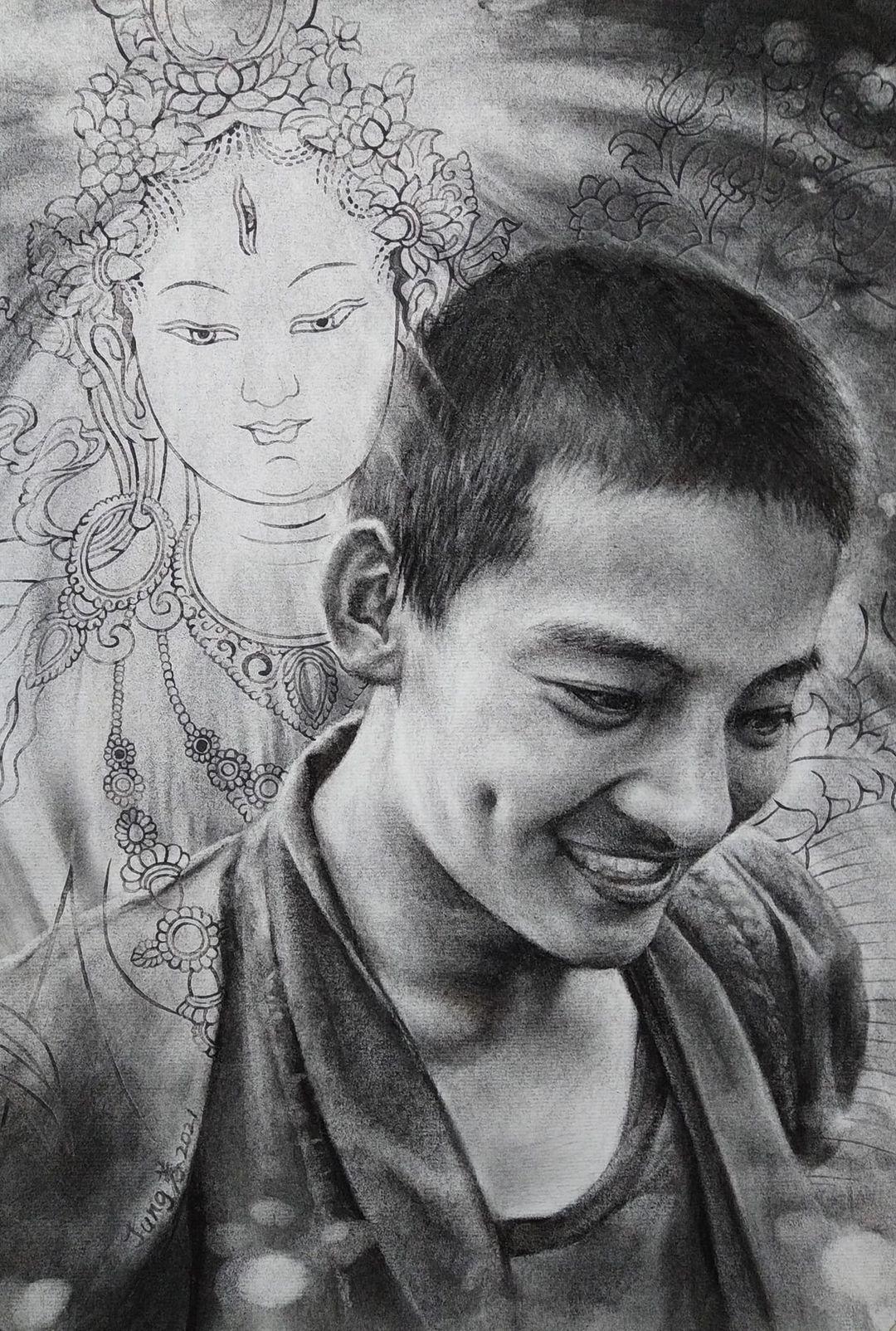19歲的丹增‧尼瑪,參與示威抗議高喊西藏獨立遭警方關押。去年在網路分享被捕訊息再度被捕,獲釋不久後死亡,家人懷疑他在獄中受虐所致。董靜蓉在他身後畫白度母(藏語: རྗེ་བཙུན་སྒྲོལ་དཀར།)傳說是觀世音菩薩的眼淚化現。(董靜蓉提供)