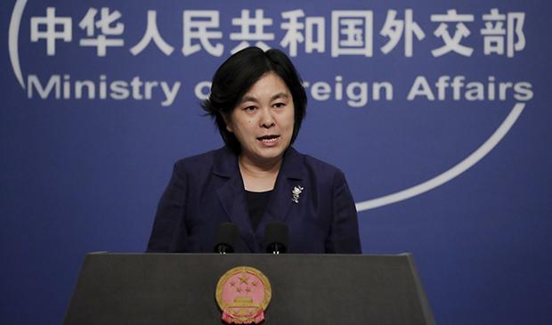 中國外交部發言人華春瑩在5月10日的例行記者會上抨擊本週將在聯合國舉行關於新疆議題的網路會議(美聯社圖片)