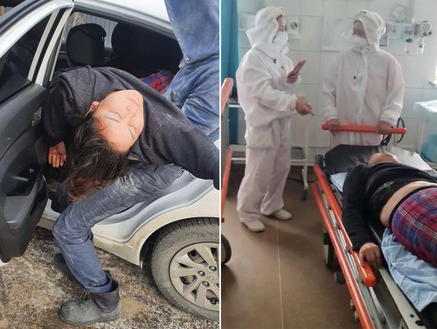 左图:2021年1月21日,喀衣夏在阿拉木图遇袭送院,回家两日后突然昏迷。右图:新疆逃亡者喀衣夏.阿汗两度送医院急救。(志愿者提供/记者乔龙)