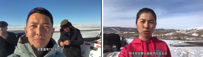左图:哈萨克人小萨称,一哈萨克牧民家庭有150匹马,说明生活富裕。 右图:波塔说,要去县城买菜,表明行动自由。(视频截图/乔龙提供)