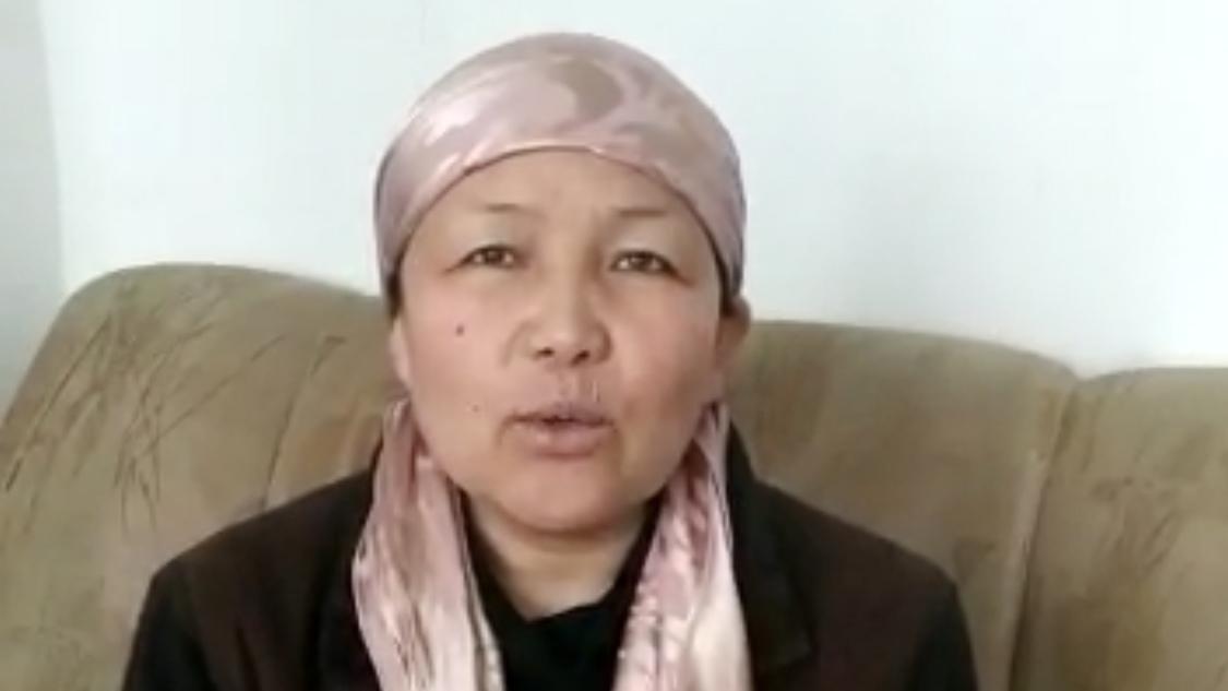 新疆再教育营前教师沙依拉古丽。(视频截图)