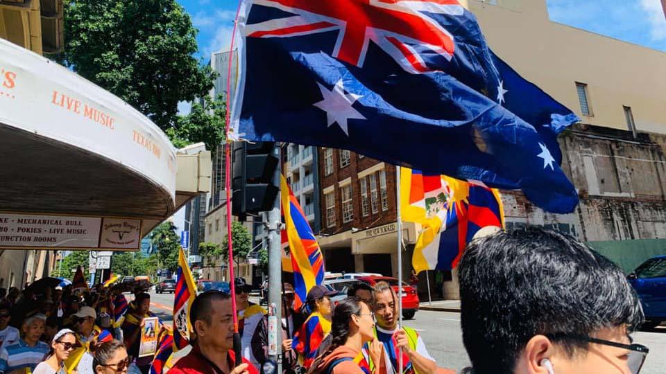 2020年3月10日,澳大利亚堪培拉、悉尼、墨尔本、布里斯班等城市举行了藏族人协会发起的和平纪念3.10西藏人民抗暴日活动。(柳泉提供)