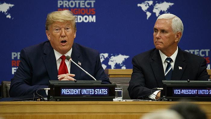 2019年9月23日,美国总统特朗普与副总统彭斯在纽约出席联合国就宗教自由举办的活动。(美联社)