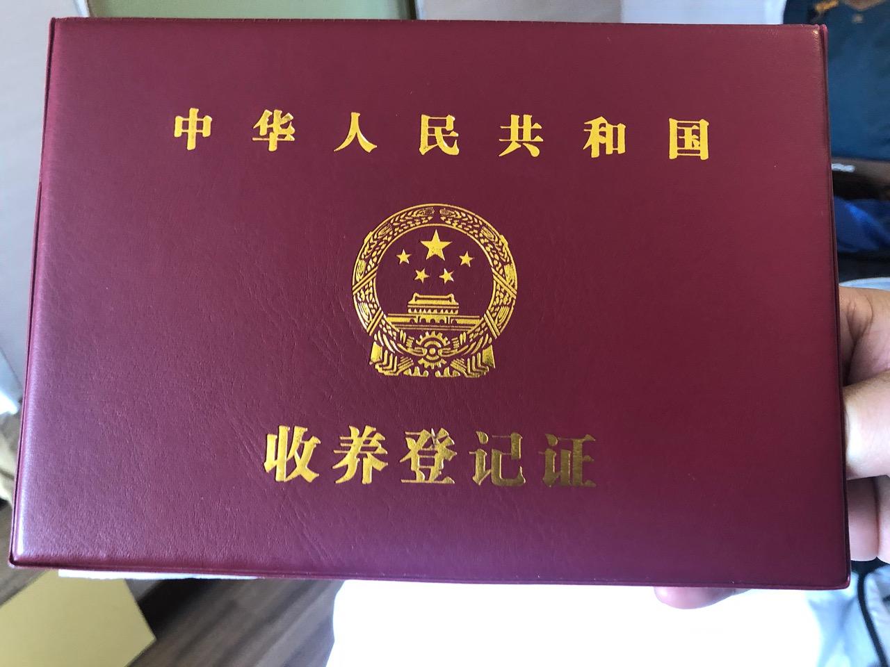 廖强夫妻出示合法收养小文的文件。(记者夏小华摄)