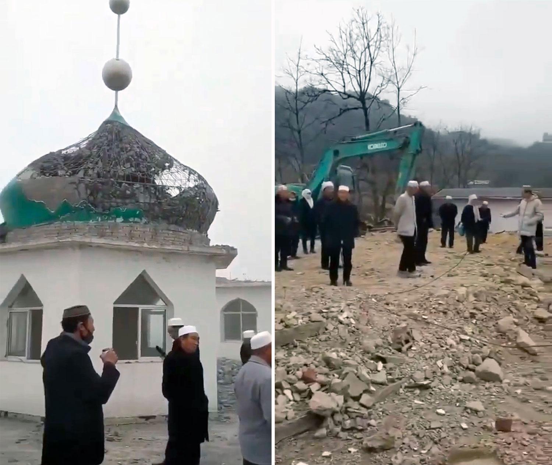 左图:位于云南昭通市小龙洞乡,始建于雍正九年的中营清真寺遭强拆。右图:穆斯林望着清真寺被挖机推倒,非常无奈。(视频截图)