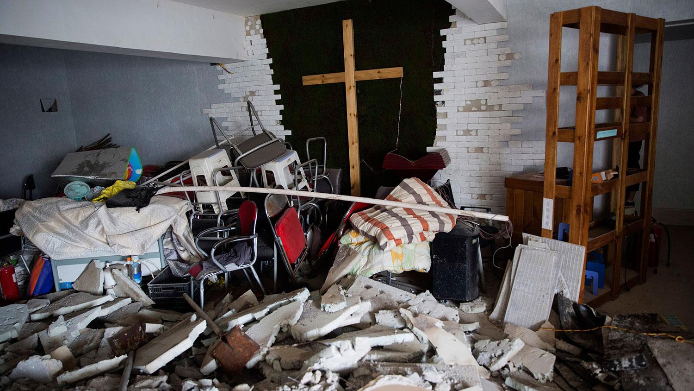 2018年6月3日,中国河南省郑州市一教堂被拆毁。(AP)