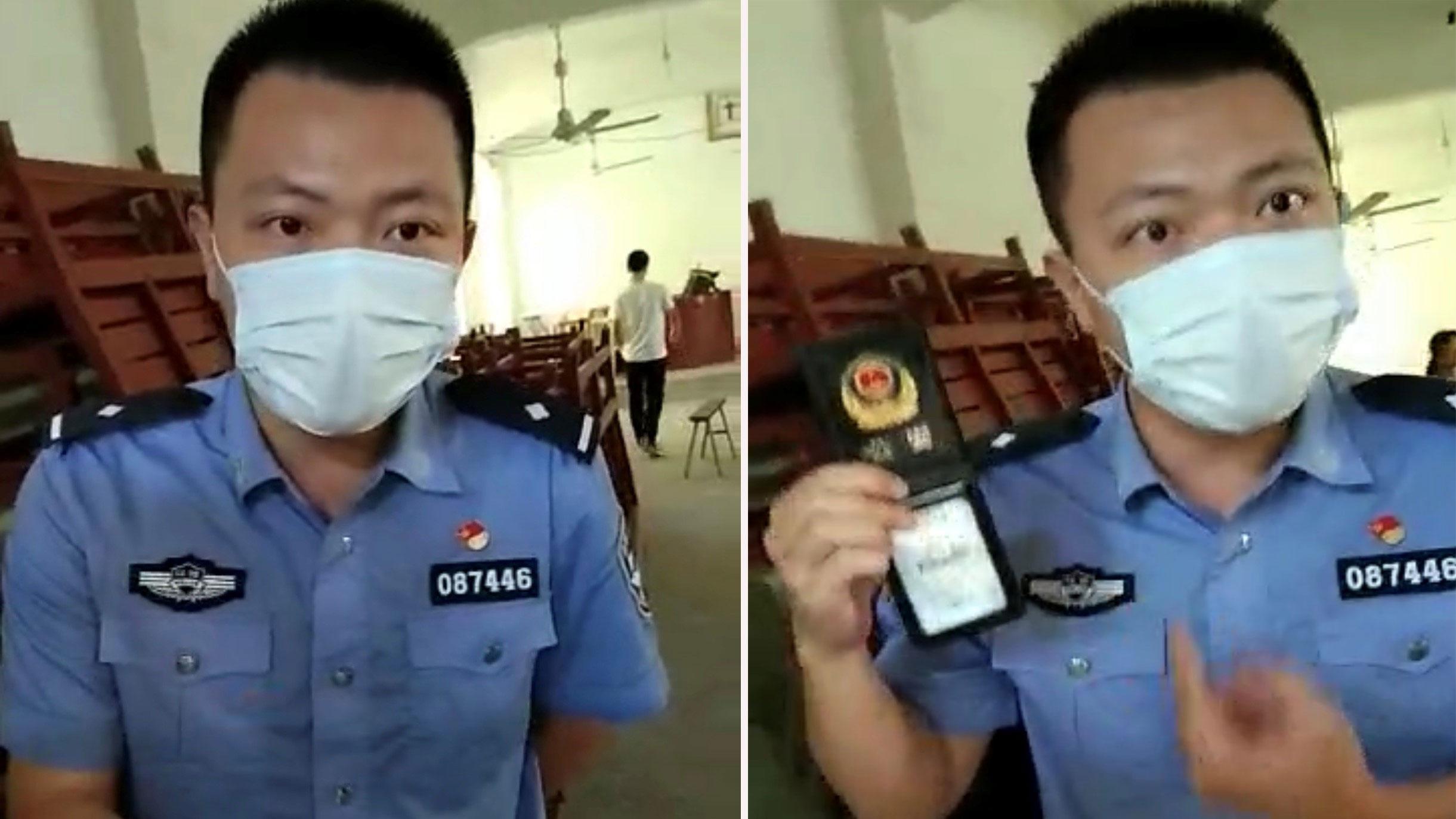 蛟潭派出所吴姓警官,带人清理教堂。(志愿者提供/记者乔龙)