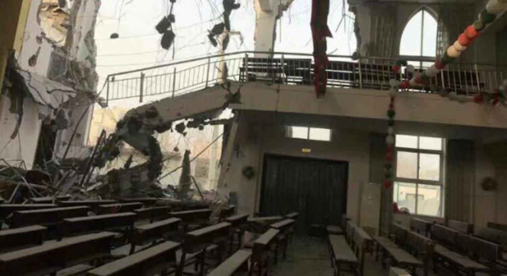 资料图片:河南郑州大里基督教堂被拆毁。(对华援助协会)