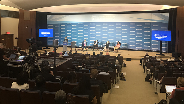 2019年7月17日美国国务院举办的促进宗教自由部长级会议现场(记者王允摄影)