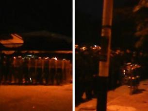 图片:当局出动防暴警察对峙人群。  (莺歌海居民提供)