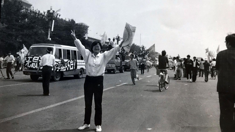 王丽玲在1989年摄于北京街头。(王丽玲提供)