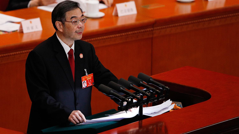 图片:2019年3月12日,中国全国人大会议举行第三次全体大会,听取最高人民法院院长周强总结去年工作。(美联社)