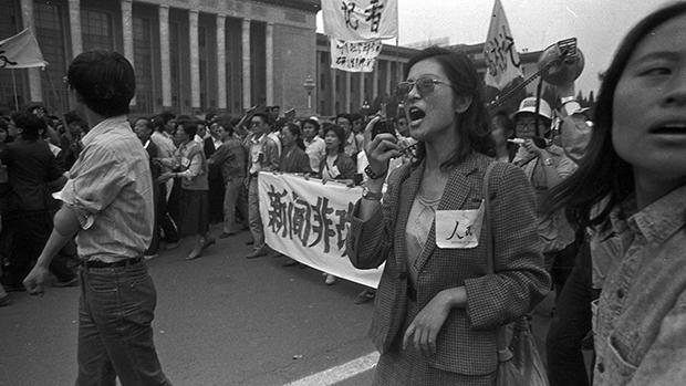 聲援八九民運的北京新聞界走上街頭(劉建拍攝並提供)