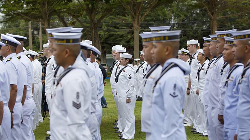 参加2019年9月2日联合演习的美国及东盟各国海军官兵(美联社)
