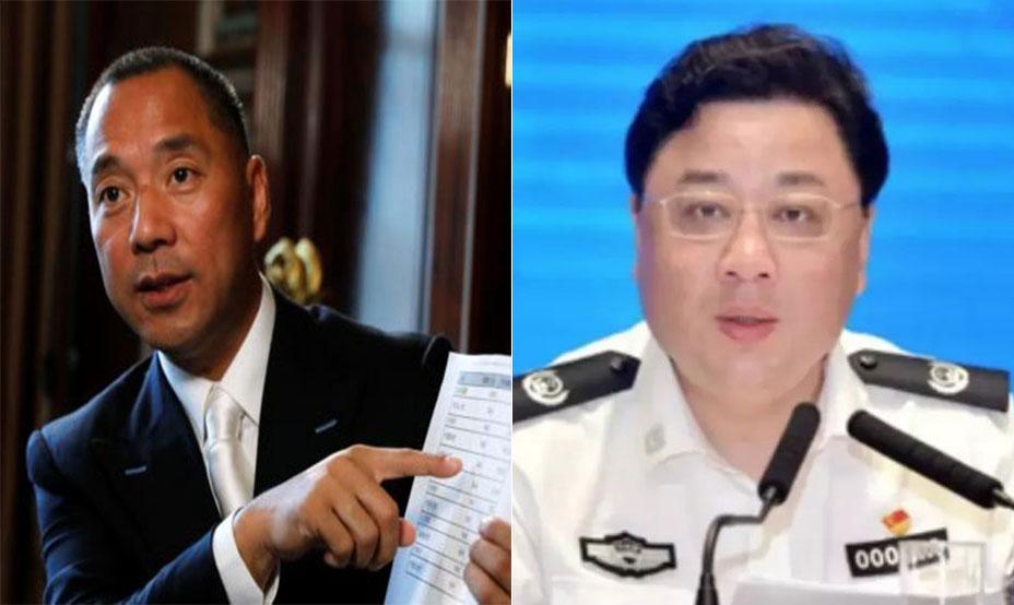 流亡美国的富商郭文贵(左图)曾多次披露,2017年5月,孙力军赴美劝说他回国,但被拒绝。(资料图/路透社/视频截图)