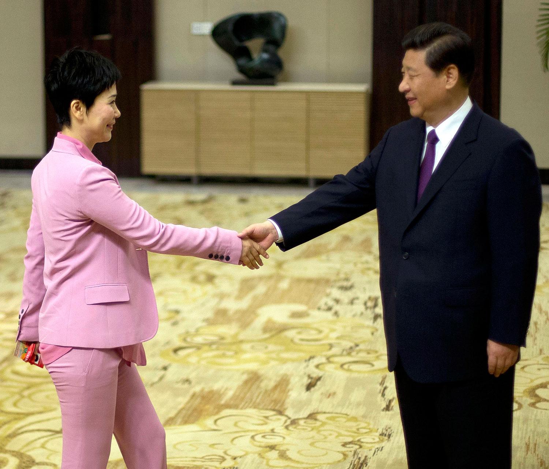 2013年4月8日,中国国家主席习近平在与企业家代表会晤时与中国电力国际发展有限公司董事长,前总理李鹏的女儿李小琳握手。(美联社)