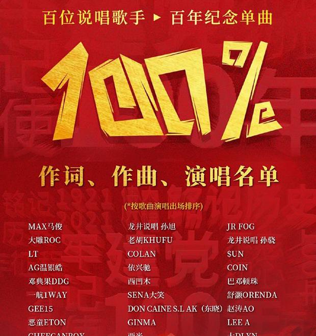 """""""100%""""作词、作曲及演唱者名单截图(知乎)"""