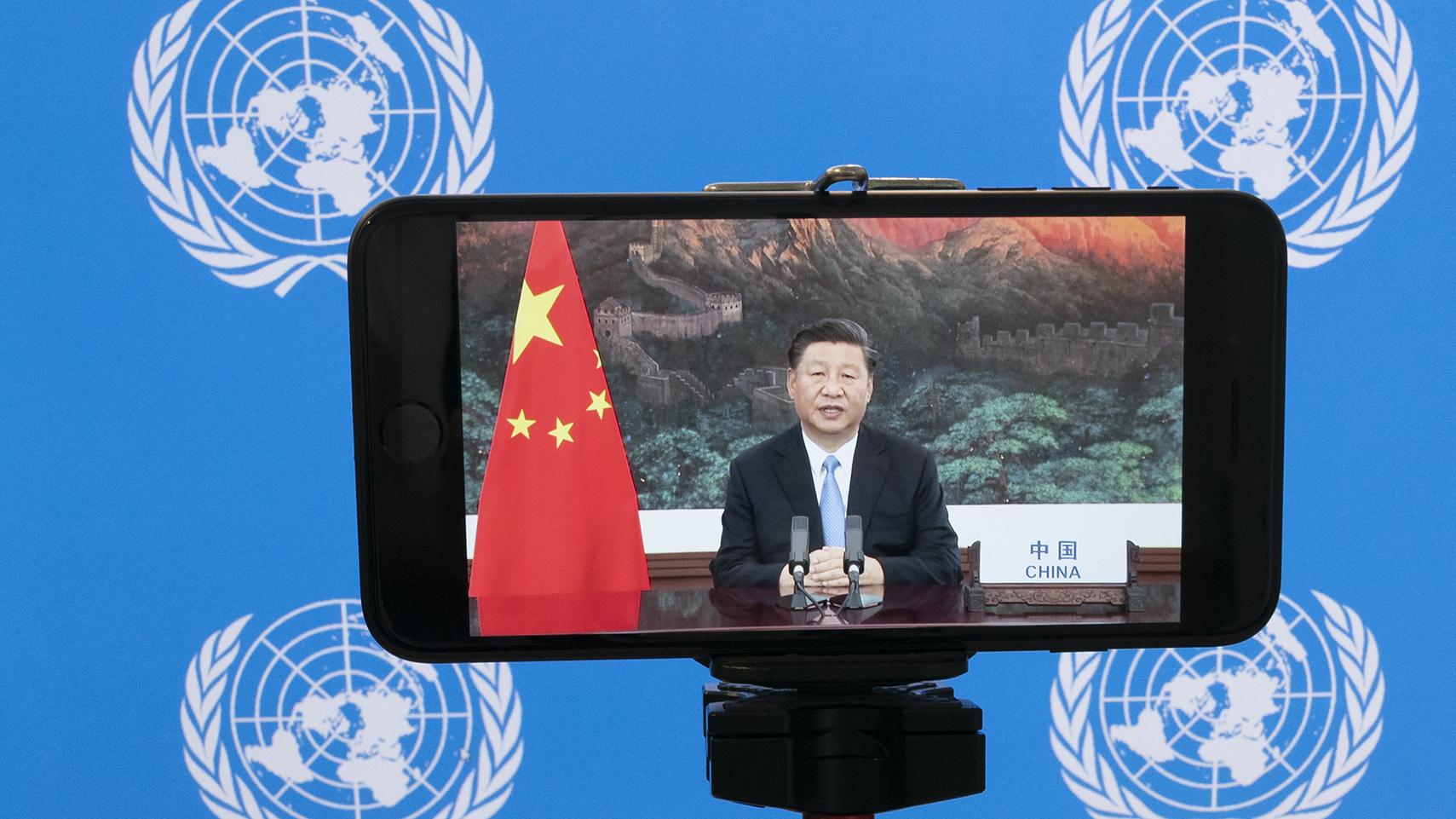 2020年9月22日,中国国家主席习近平在联合国大会上发表视频演讲。(美联社)