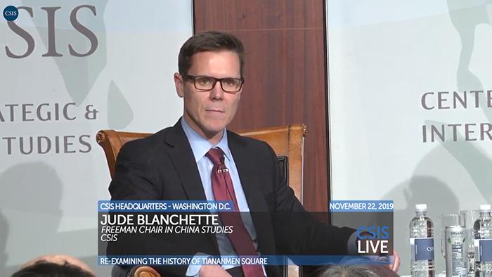 """""""战略暨国际研究中心""""中国研究项目负责人布兰切特(Jude Blanchette)在讨论会上讲话(视频截图)"""