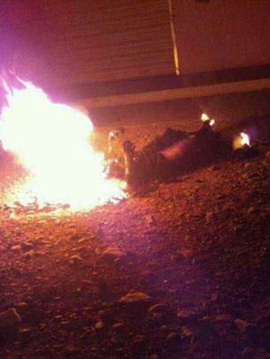 图片:桑杰扎西自焚现场。(受访人提供)
