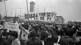 新華社記者、編輯遊行支援學生 。(六四檔案圖)