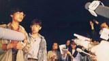 """1989年4月29日北高聯常委王丹(左一)、主席吾爾開希(左二)召開記者會,不承認袁木等人舉行的是對話會,而是官方掌控的座談會。吾爾開希曾抵達""""對話會""""會場,但被拒之門外。(六四檔案圖)"""