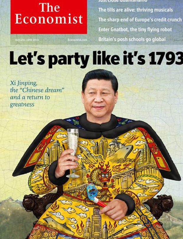 英国《经济学人》2013年合成的习近平黄袍加身封面截图(经济学人)