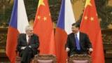 中国国家主席习近平(右)会见捷克总统泽曼(左)。(美联社)
