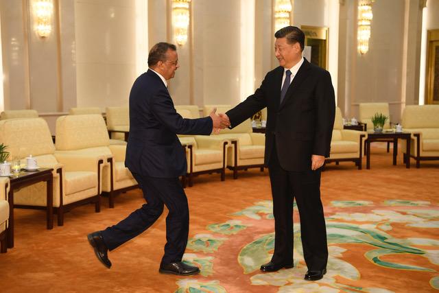 世界卫生组织总干事谭德塞说中国的防疫能力、速度令人超乎想像,所有人都应该对中国表示感谢。(法新社)