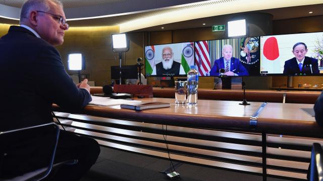 澳大利亚总理莫里森参与四方对话峰会。(AP)