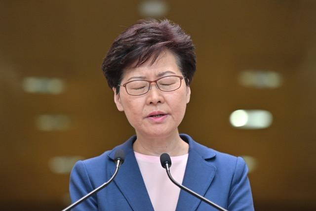 香港特首林郑月娥说《逃犯条例》修订草案已死,修例工作完全失败。(法新社)