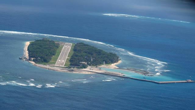 台湾主张拥有太平岛的主权,这张太平岛照片摄于2016年。(法新社)