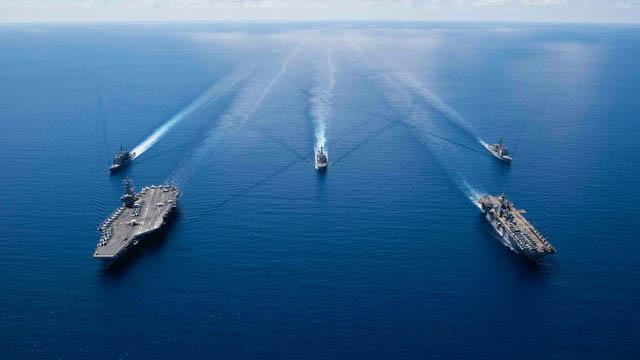 美军航母雷根号最近在南海举行军事演习。(法新社)