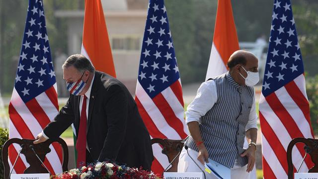 印度和美国签署军事协议,印美关系出现历史性进展。(法新社)
