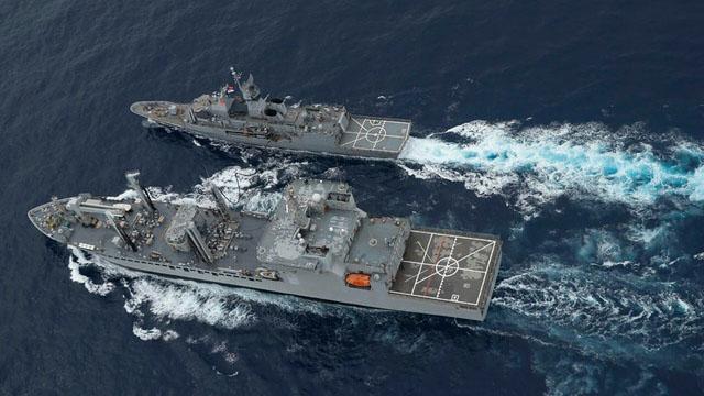 马拉巴尔海军演习始于1992年,起初是美国和印度的双边年度演习,近年规模扩大,今年形成四国联合军演。(法新社)