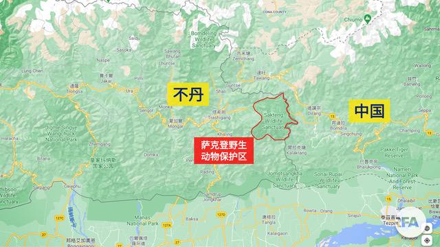 中国主张不丹东部的萨克顿野生动物保护区(画红线处)是中国领土。(RFA制图)