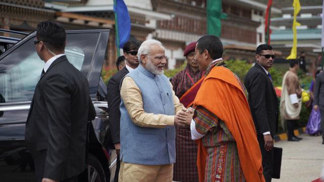 不丹向来是印度的被保护国,图为印度总理莫迪2019年访问不丹。(法新社)