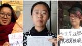 资料图片:中国当局逮捕的反性骚扰活动人士:(左起)韦婷婷、王曼和郑楚然。(路透社图片)
