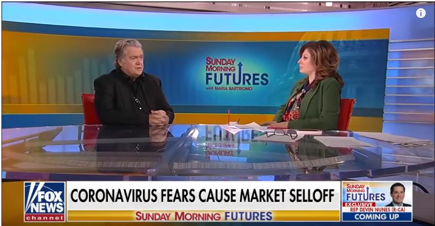 图:班农(Stephen Kevin Bannon)2020年3月1日接受福克斯新闻(Fox News)记者玛丽亚·巴蒂罗莫(Maria Bartiromo)采访,力挺川普采取行动挽救衰退的美国本土制造业。(视频截图)