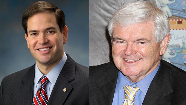 图:美国政治家联名发表文章并不多见,这一老一少这次合作密切:马克·鲁比奥(Sen. Marc Rubio,左)和美国众议院前议长纽特·金里奇(Newt Gingrich,右)联署发表文章,强调将产业链撤出中国搬回美国势在必行。(Public Domain)