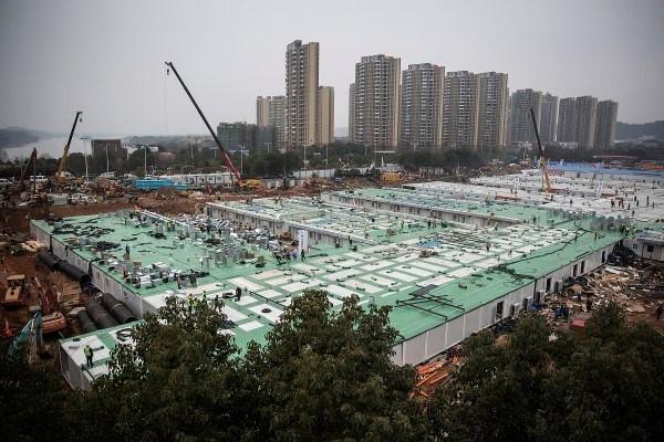 武汉火神山新型冠状病毒专科医院2月2日完工后由解放军接管。(Getty Images)