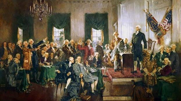 重振美国最根本的优势,就是美国的民主。图为1789年美国宪法签署场景油画。(维基百科)