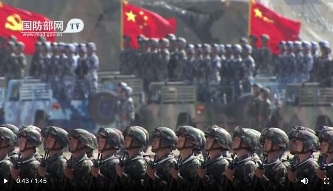 2020年11月共军施行《联合作战纲要(试行)》,全军开始按纲施训。(视频截图)