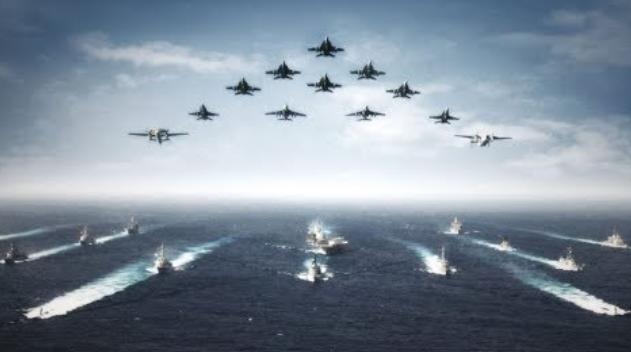 解放軍轉型瞄準強敵對手美軍。圖爲美軍航母打擊羣。(視頻截圖)