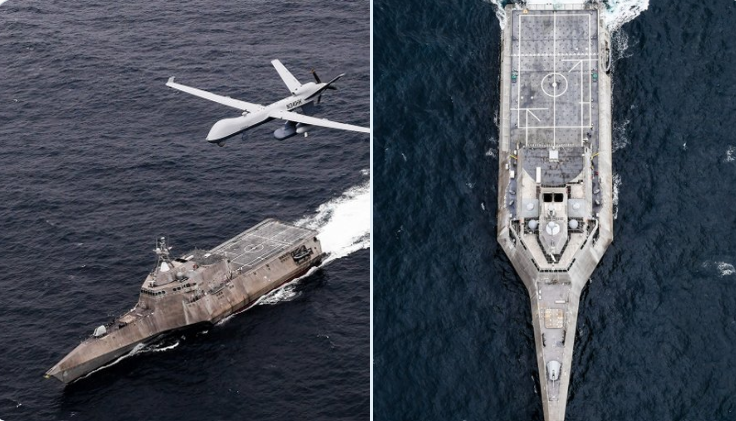 MQ-9海上卫士无人机与滨海战斗舰协同演练。(Twitter, UxS IBP)