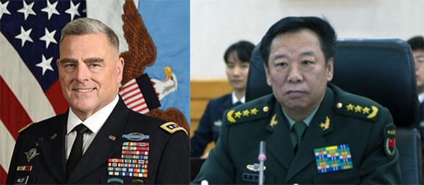 美國參謀長聯席會議主席米利(Mark Milley,圖左)至今未與中國軍委聯合參謀部參謀長李作成(圖右)會談。(維基百科)