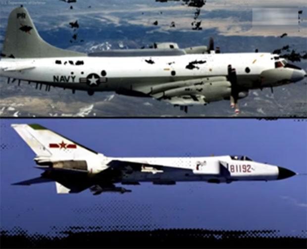 2001年4月1日中美髮生撞機事件。美國駐北京大使普理赫(Joseph Prueher)打電話給中國外交部,打了9個小時沒人接電話。上圖美國EP-3偵察機,下圖中國殲-8II戰機。(視頻截圖)